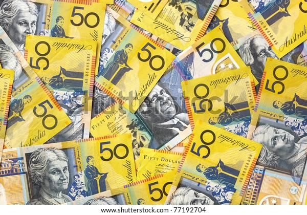 Background of Australian fifty dollar bills.  Full-frame.