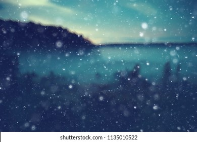 background autumn snow / blurred background foggy evening, landscape with a snowfall on nature at night