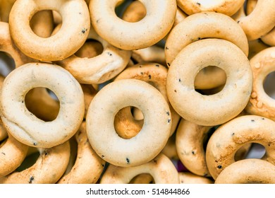 Background of bagels lying on the surface