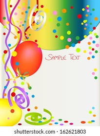 background with balloon and confetti. birthday card