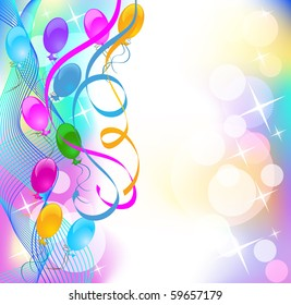 Background with balloons and serpentine. Raster version of vector.