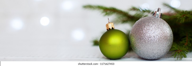 Background with balls. Banner for the site. The concept of Christmas and New Year.