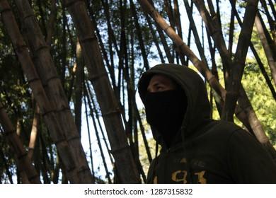 background with bambu and ninja silhouette