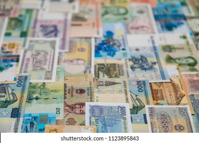 background of banknotes from different countries