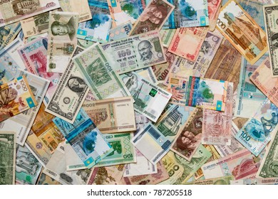 background from banknotes of different countries, Russia, USA, Kazakhstan, Malaysia, China, Vietnam, Belarus, India