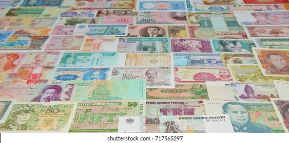 background of banknotes of the world (paper money)