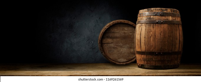 background of barrel and worn old table of wood