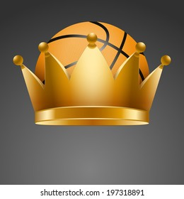 Background of Basketball ball inside the royal crown. King of sport. Traditional form and color. Isolated on white background. Bitmap copy.