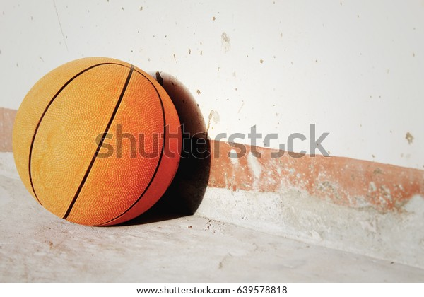Background basketball ball laying mortar