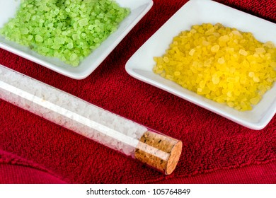 Background with bath salts - beauty treatment.