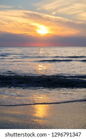 Background of the beach during sunrise at Prachuap Khiri Khan province in Thailand.
