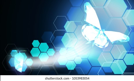 Background of beautiful abstract Business transformation innovation. Change from manual to digital technology like butterfly life cycle. Suitable for imply with success future business growth concept