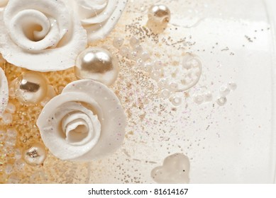 Background from beautiful artificial flowers. Macro photo