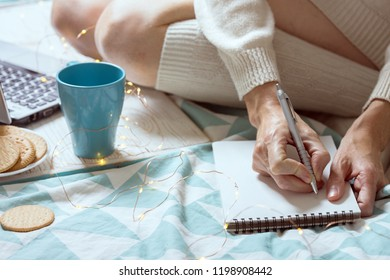 background - beautiful cozy morning and and the girl is planning her day