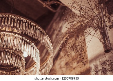Background of beautiful expensive classic vintage old lamp chandeliers decorate in restaurant and hotel with glamour luxury prestige gatsby theme concept for rich wealth exclusive premium party