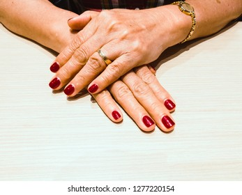 Background of beautiful hands of happy enjoy life senior old aging woman wealthy rich from well plan of financial management passive income. Positive cheerful rich lifestyle with salon nail manicure