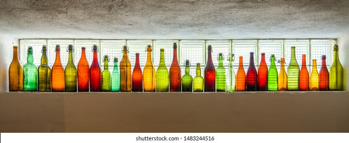 Background from beer and wine bottles
