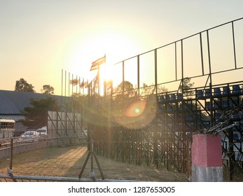 The background behind the sports grandstand in the evening at sunset is amazing and beautiful.