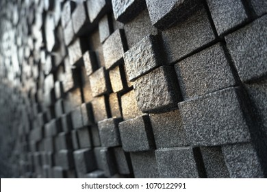Background of black cubes stone 3d block with sun shine in the center. Abstract present of young successful and new opportunity like sun light shine to show new innovation, direction and solution