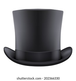 Background of black gentleman hat cylinder. Isolated on white background. Bitmap copy.