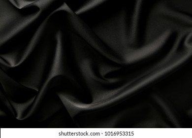 Background of black satin fabric