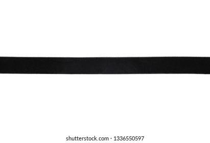 Background with black velvet ribbon on white background
