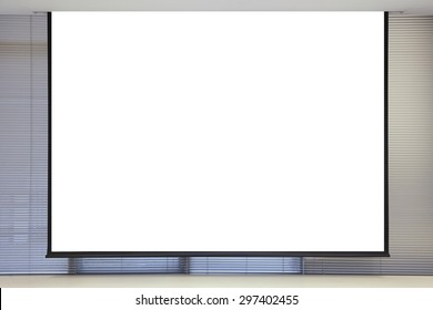 background of blank projector canvas in the office