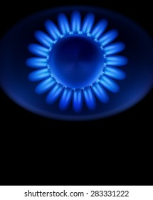 background with blue burning gas gas stove