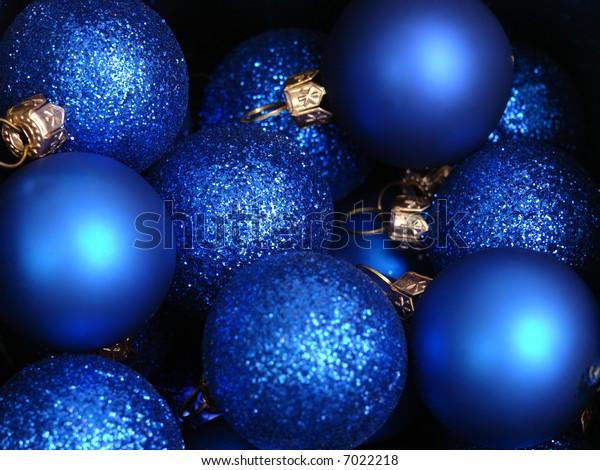 Background of blue christmas balls