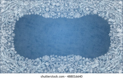 Background of blue color with snowflakes and frosty patterns