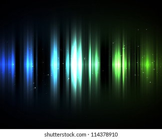 Background of blue and green lights in the dark