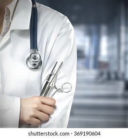 background of blue hosptial interior with tools