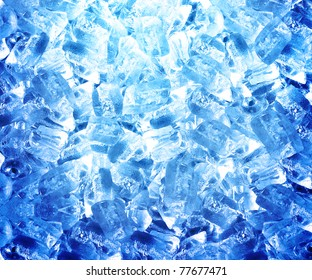Background of blue ice cubes