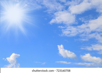 Background of blue sky with clouds and sun