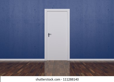 Background Blue Wall with parquet floor and white door