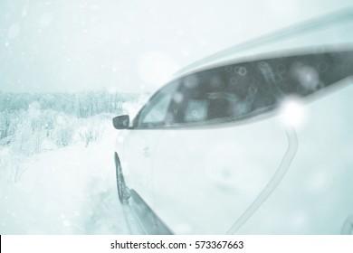 background blur bright car white snow winter