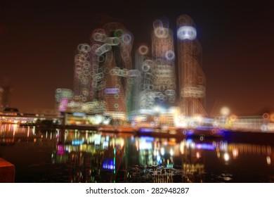 background blur city skyscrapers night