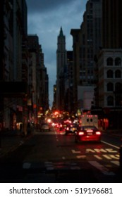 Background blur of darkness over blacked-out streets of Lower Manhattan in New York, NY, USA, after Hurricane Sandy.