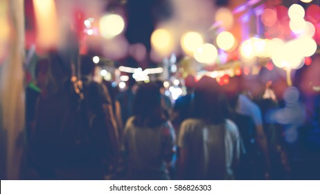 background blurred bokeh. Lights Ceremonies. Light the lights at night In celebrations.A lot of people