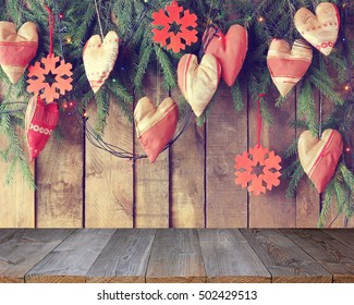 Background from boards with fir-tree branches from above, Empty wooden table, template, place for .Blank space for your object.