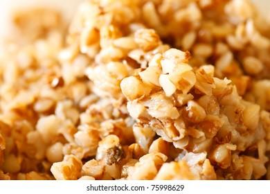 background of boiled buckwheat