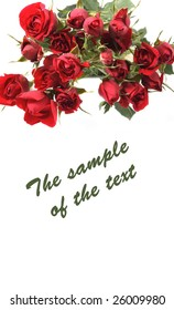 Background with a bouquet of roses of red color and a place for the text.