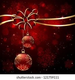 Background with bow and two red Christmas balls, illustration.