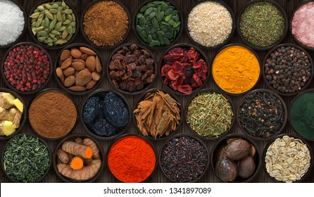Background with bowls of spices