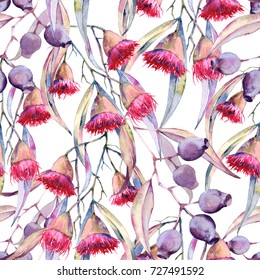 Background is a branch of gum flowers. Seamless pattern. Watercolor illustration