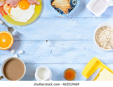 Background breakfast on a wooden background