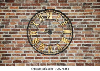 Background of brick wall with clock