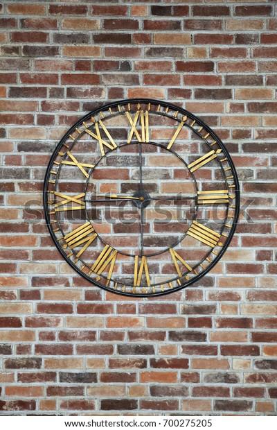 Background Brick Wall Clock Stock Photo Edit Now 700275205