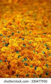 Background of bright orange Marigold flowers which are traditionally used during the rituals of Dassera festival in India.