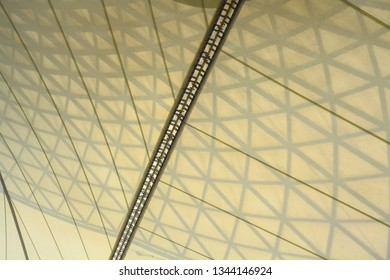 The background of a bright yellow canvas roof